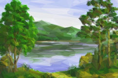 Landschaft, Bäume und See Lizenzfreie Stockfotos