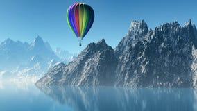 Landschaft 3D mit Heißluftballon und -bergen Stockfoto