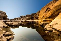 Landschaft der Abnutzung in Khong-Fluss stockbilder
