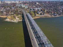 Landschaft der Brücke über dem Don Lizenzfreies Stockbild
