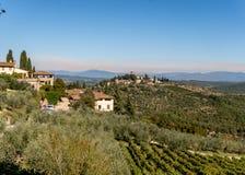 Landschaft der Chiantiregion in toskanischem Italien Stockbild