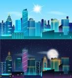 Landschaft der Großstadt Tag und Nacht Wolkenkratzer in den Neonlichtern Sonnig Tag und Nacht mit Dummkopfmond Stockbild