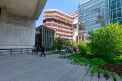 Landschaft der hohen Linie Städtischer allgemeiner Park auf einer historischen Frachtbahnstrecke, New York City, Manhattan Lizenzfreie Stockfotografie
