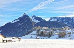 Landschaft der Landschaft in der Schweiz im Winter Stockfoto