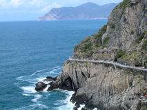 Landschaft der Liebesstraße in Cinque Terre, Italien Lizenzfreie Stockbilder