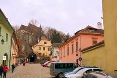 Landschaft in der mittelalterlichen Stadt Sighisoara Stockfoto