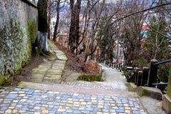 Landschaft in der mittelalterlichen Stadt Sighisoara Lizenzfreies Stockfoto