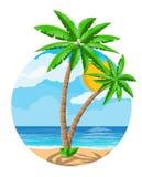 Landschaft der Palme auf Strand Stockfotos