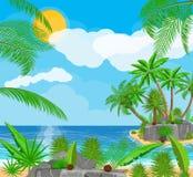Landschaft der Palme auf Strand Lizenzfreie Stockfotografie