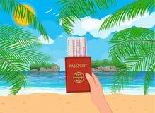 Landschaft der Palme auf Strand, Dokumente Stockfoto