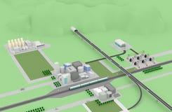 Landschaft der Stadt 3D Stockfoto