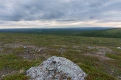 Landschaft der Tundra bei Sonnenuntergang, Finnmark, Norwegen Stockfotografie