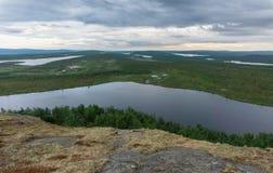 Landschaft der Tundra bei Sonnenuntergang, Finnmark, Norwegen Lizenzfreies Stockbild