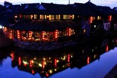 Landschaft der Xitang-Wasser-Stadt lizenzfreies stockbild