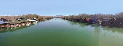 Landschaft des Flusses Bojana in Ulcinj, Montenegro Stockfotografie