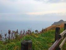 Landschaft des grünen Feldes und des Kaps mit Meer Stockfotos
