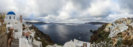 Landschaft des Insel santorini Griechenland Lizenzfreie Stockfotos