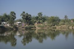Landschaft des ländlichen Dorfs von Bengal in Indien ist so ruhig und ruhig lizenzfreies stockbild