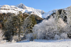 Landschaft des Massif Central im Winter Lizenzfreies Stockfoto