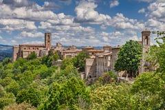 Landschaft des mittelalterlichen d'Elsa Stadt-Colle di Val, Toskana, Ita stockfotografie