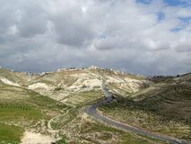 Landschaft des palästinensischen Gebiets in einem breiten Panorama Stockbild