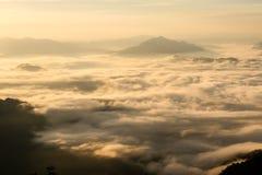Landschaft des Sonnenscheins auf dem Morgennebel bei Phu Chee Fah Stockfoto