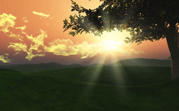 Landschaft des Sonnenuntergang-3D Lizenzfreie Stockfotos