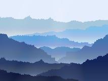 Landschaft des Vektoraquarells nebelhafte Gebirgs Lizenzfreie Stockbilder