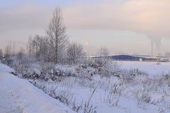 Landschaft des verschneiten Winters Lizenzfreies Stockfoto