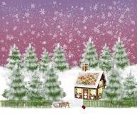 Landschaft des verschneiten Winters mit Lebkuchenhaus und -schlitten im Garten stock abbildung