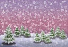 Landschaft des verschneiten Winters mit Tannenbäumen ein rosa Himmel und ein Schnee blättert horizontales Bild ab vektor abbildung