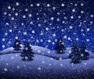 Landschaft des verschneiten Winters mit Tannenbäumen und frohen Weihnachten lizenzfreie abbildung