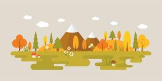 Landschaft des Waldes im Herbst stock abbildung
