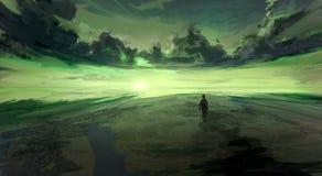 Landschaft des Wassers Schwere Wellenabbrüche Märchen, sternenklare Nacht nahe dem Meer Flache Illustration insel Lizenzfreie Stockfotos