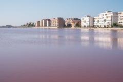 Landschaft, die rosa Salzebenen bei Margherita Di Savoia in Puglia, Italien zeigt Wasser ist rosa Krebstiere, die in ihm leben lizenzfreies stockbild