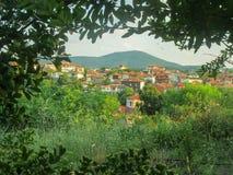 Landschaft eines Dorfs stockbild
