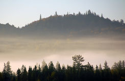 Landschaft eines Herbstes mit Nebel Lizenzfreie Stockbilder