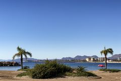 Landschaft eines spanischen Strandes mit Palmen und einem Regenschirm lizenzfreie stockbilder