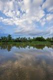 Landschaft entlang riverMaenam Tha Chin, Nakhon Pathom, Thailand Tha Chin Stockfotografie