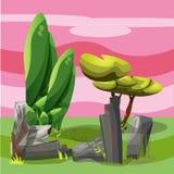 Landschaft für das Spielen mit Bäumen und Steinen vektor abbildung