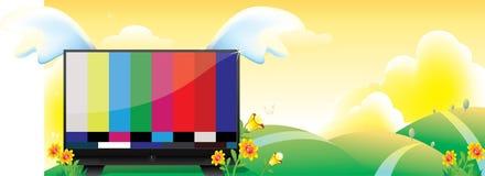Landschaft-Fernsehszenenkarikatur Lizenzfreie Stockfotografie