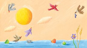 Landschaft - Frösche, Vögel und Fisch im Teich vektor abbildung