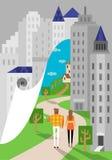 Landschaft gegen Stadt Lizenzfreie Stockbilder