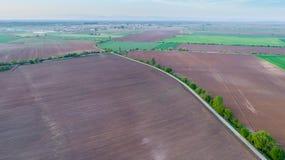 Landschaft geschossen von den Landwirtschafts-Feldern Stockfoto