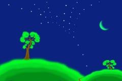 landschaft grüne Hügel, Bäume und der Mond lizenzfreie stockfotografie
