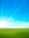 Landschaft - grünes Feld und blauer Himmel Lizenzfreie Stockbilder