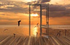 Landschaft hinter der Öffnungstür, 3D Lizenzfreies Stockbild