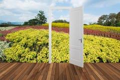 Landschaft hinter der Öffnungstür, 3D Stockbilder
