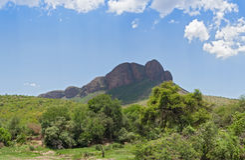 Landschaft im Nationalpark Marakele, Südafrika Stockfotografie