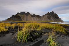 Landschaft in Island bei Sonnenaufgang Stockbild